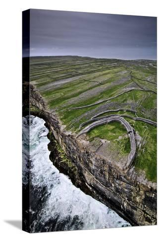 Atlantic Waves Crash on the Cliffs Beneath the Ancient Dun Aengus-Jim Richardson-Stretched Canvas Print