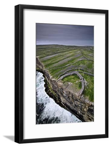 Atlantic Waves Crash on the Cliffs Beneath the Ancient Dun Aengus-Jim Richardson-Framed Art Print