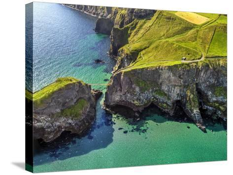 Aerial View of Carrick-a-Rede Rope Bridge on the North Irish Coast-Chris Hill-Stretched Canvas Print