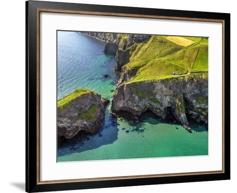 Aerial View of Carrick-a-Rede Rope Bridge on the North Irish Coast-Chris Hill-Framed Art Print
