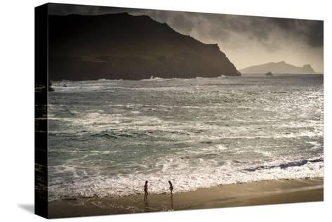 Girls Playing by the Sea at Clougher Bay, Kerry-Chris Hill-Stretched Canvas Print