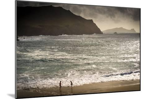 Girls Playing by the Sea at Clougher Bay, Kerry-Chris Hill-Mounted Photographic Print