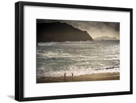 Girls Playing by the Sea at Clougher Bay, Kerry-Chris Hill-Framed Art Print