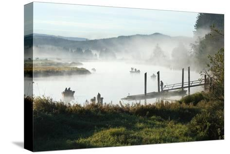 Fisherman Enjoy a Beautiful Foggy Morning Fishing-Vickie Lewis-Stretched Canvas Print