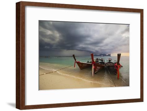 Thai Fishing Boats Beached on Phi Phi Island During a Storm-Alex Saberi-Framed Art Print