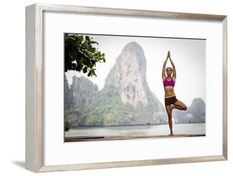 A Woman Doing Tree Pose Or Vrksasana-Cory Richards-Framed Art Print
