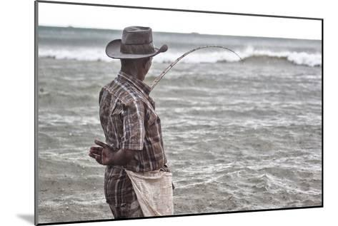 A Man with a Fishing Line on Mirissa Beach-Alex Saberi-Mounted Photographic Print