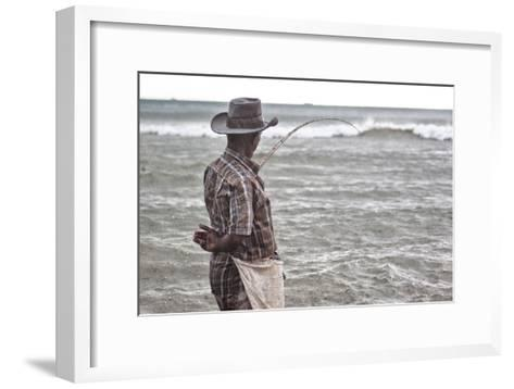 A Man with a Fishing Line on Mirissa Beach-Alex Saberi-Framed Art Print