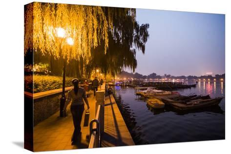 People Enjoy the Night Next to Houhai Lake-Jonathan Kingston-Stretched Canvas Print