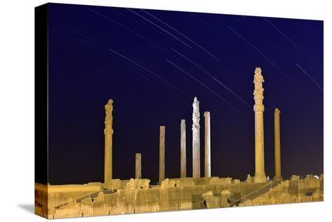 Star Trails Over 2500-year-old Apadana Palace, a World Heritage Site-Babak Tafreshi-Stretched Canvas Print