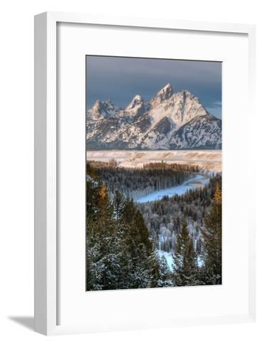 Winter Sunrise on the Teton Range and Snake River-Greg Winston-Framed Art Print