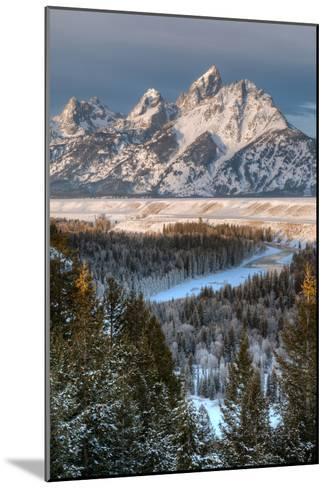 Winter Sunrise on the Teton Range and Snake River-Greg Winston-Mounted Photographic Print