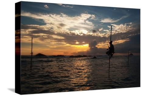 A Stilt Fisherman at Sunset-Alex Saberi-Stretched Canvas Print