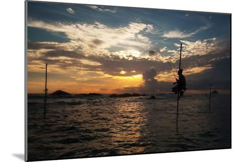 A Stilt Fisherman at Sunset-Alex Saberi-Mounted Photographic Print
