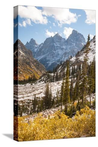 A High Canyon in Fall Foliage and Early Snow, and Snow Covered Peaks-Greg Winston-Stretched Canvas Print