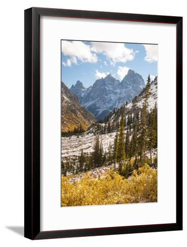 A High Canyon in Fall Foliage and Early Snow, and Snow Covered Peaks-Greg Winston-Framed Art Print