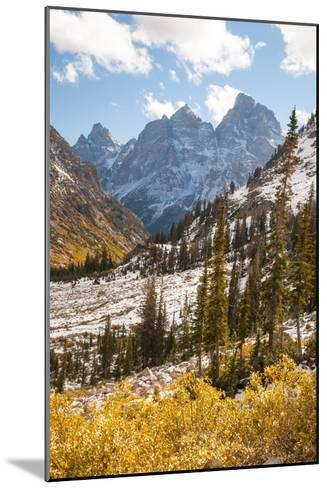 A High Canyon in Fall Foliage and Early Snow, and Snow Covered Peaks-Greg Winston-Mounted Photographic Print