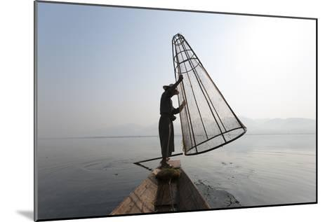 A Basket Fisherman on Inle Lake Prepares to Plunge a Cone Shaped Net-Alex Treadway-Mounted Photographic Print
