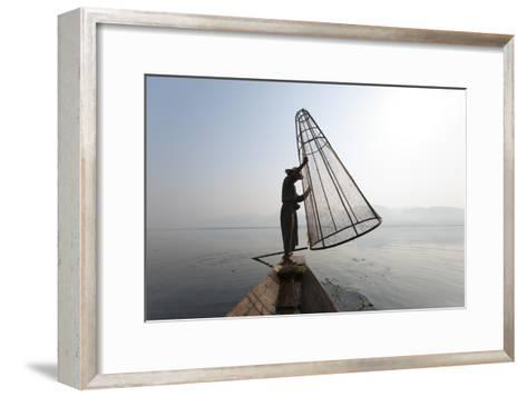 A Basket Fisherman on Inle Lake Prepares to Plunge a Cone Shaped Net-Alex Treadway-Framed Art Print