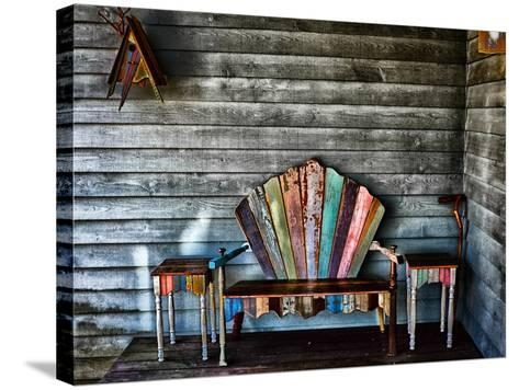 Colorful Re-purposed Tables and Bench on a Porch. Processed with a Detail Extractor Filter-Amy & Al White & Petteway-Stretched Canvas Print