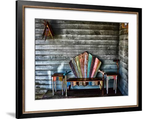 Colorful Re-purposed Tables and Bench on a Porch. Processed with a Detail Extractor Filter-Amy & Al White & Petteway-Framed Art Print