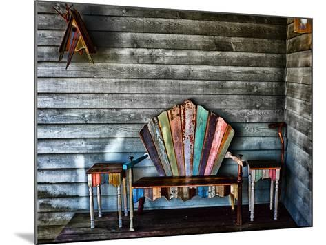 Colorful Re-purposed Tables and Bench on a Porch. Processed with a Detail Extractor Filter-Amy & Al White & Petteway-Mounted Photographic Print
