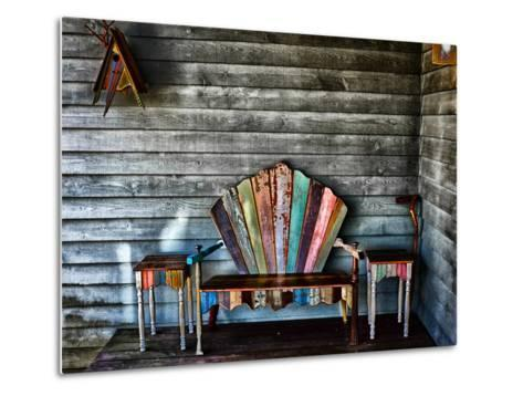 Colorful Re-purposed Tables and Bench on a Porch. Processed with a Detail Extractor Filter-Amy & Al White & Petteway-Metal Print