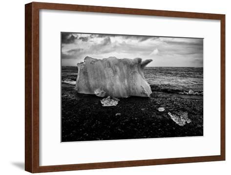 A Small Iceberg on a Volcanic Rock Beach at Jokulsarlon Lake, a Glacial Lagoon-Jonathan Irish-Framed Art Print