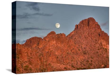 A  Mountain Range at Sunset in Tucson, Arizona-John Burcham-Stretched Canvas Print