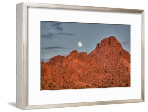 A  Mountain Range at Sunset in Tucson, Arizona-John Burcham-Framed Art Print