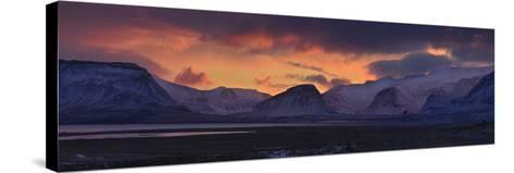 Dramatic Sky Over Mountains and Glaciers Near Thingvellir at Dawn-Raul Touzon-Stretched Canvas Print