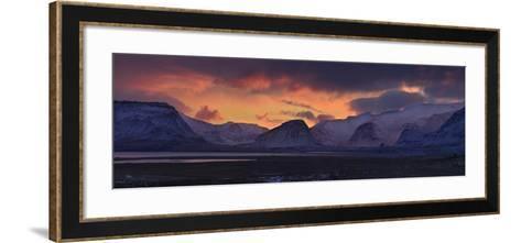 Dramatic Sky Over Mountains and Glaciers Near Thingvellir at Dawn-Raul Touzon-Framed Art Print