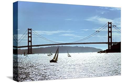 Sailboats on the San Francisco Bay Beneath Golden Gate Bridge-Rex A. Stucky-Stretched Canvas Print