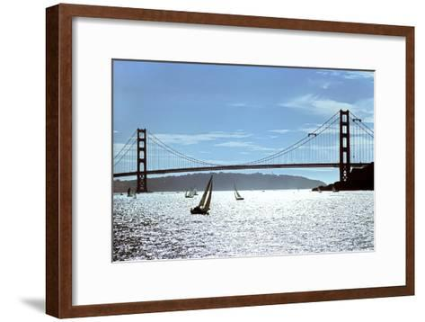 Sailboats on the San Francisco Bay Beneath Golden Gate Bridge-Rex A. Stucky-Framed Art Print