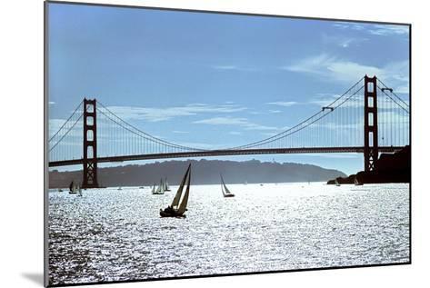 Sailboats on the San Francisco Bay Beneath Golden Gate Bridge-Rex A. Stucky-Mounted Photographic Print