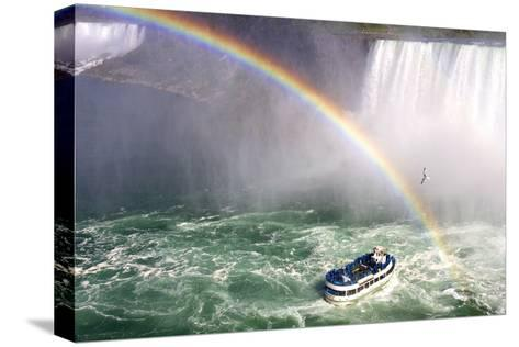 The Maid of the Mist Tourist Boat Under a Double Rainbow at Niagara Falls-Charles Kogod-Stretched Canvas Print