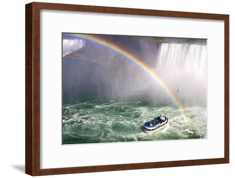 The Maid of the Mist Tourist Boat Under a Double Rainbow at Niagara Falls-Charles Kogod-Framed Art Print