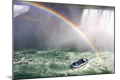 The Maid of the Mist Tourist Boat Under a Double Rainbow at Niagara Falls-Charles Kogod-Mounted Photographic Print