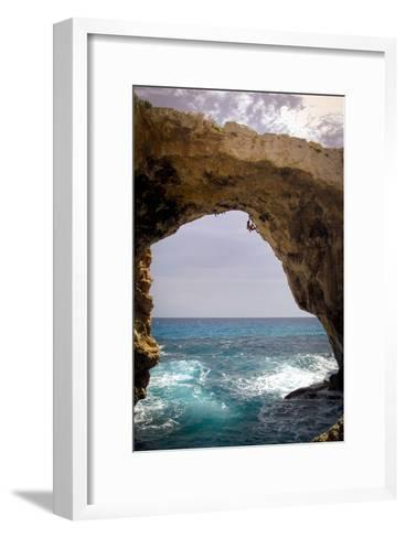 A Rock Climber Climbing Without Ropes Above the Mediterranean Sea-Cory Richards-Framed Art Print