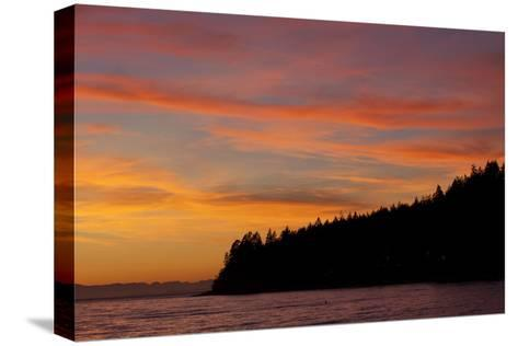A Fiery Sky at Sunset Above Sunshine Coast and the Pacific Ocean-Matthias Breiter-Stretched Canvas Print