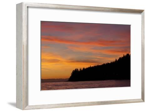 A Fiery Sky at Sunset Above Sunshine Coast and the Pacific Ocean-Matthias Breiter-Framed Art Print