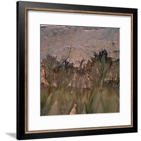 Changes in Gullies on Mars's Newton Crater Might Be Evidence of Flowing Water--Framed Art Print