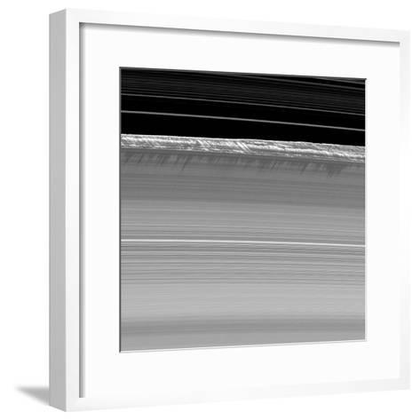 Towering Walls of Ice Rubble Cast Long Shadows on the Outer Edge of Saturn's B Ring--Framed Art Print