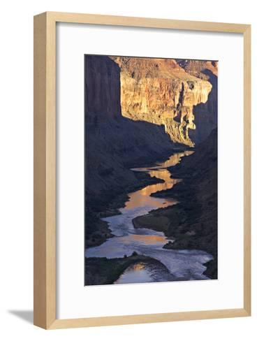 The Colorado River and Canyon Cliffs Reflect Sunlight at Nankoweap-Derek Von Briesen-Framed Art Print
