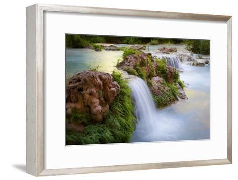 Havasu Creek Rushes Over Falls in Havasu Canyon-Derek Von Briesen-Framed Art Print