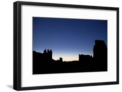 The Park Avenue Viewpoint and the Three Gossips at Night in Arches National Park-Dmitri Alexander-Framed Art Print