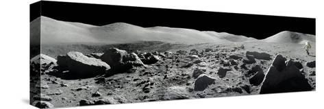 An Apollo 17 Composite Photograph at Station 5 Shows a Stretch of Rock-strewn Moon Features--Stretched Canvas Print