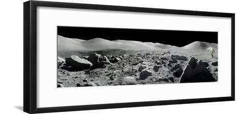 An Apollo 17 Composite Photograph at Station 5 Shows a Stretch of Rock-strewn Moon Features--Framed Art Print