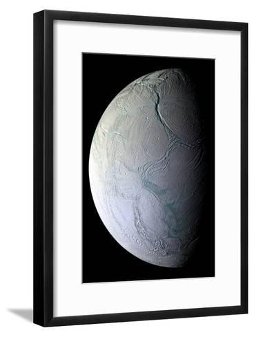 Enceladus's Icy Face Reveals Ridges and Folds From the Moon's Active Geology--Framed Art Print