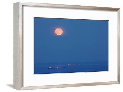 A Full Moon Rising Over Anchored Oil Tankers in Lyme Bay, England-Nigel Hicks-Framed Art Print